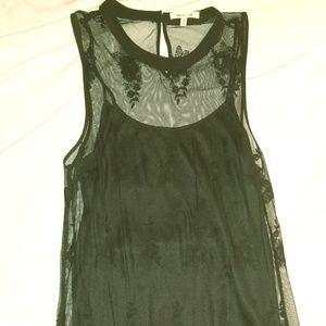 Cute Black Sheer Overlay Dress Blueh Ciel Small